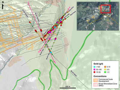 Figure 1 – Plan View of Drilling in Eastern Yaraguá vein system (CNW Group/Continental Gold Inc.)