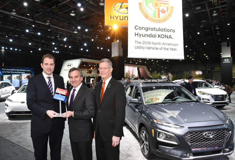 Hyundai Kona and Kona Electric CUV Win Prestigious 2019 Car and Driver 10Best Trucks and SUVs Award.  From left to right: David VanderWerp, Deputy Online Editor, Car and Driver; Brian Smith, COO, Hyundai Motor America and Mike O'Brien, Vice President, Product, Corporate and Digital Planning, Hyundai Motor America.