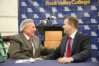 Dr. Douglas J. Jensen, President of Rock Valley College (left), and Ryan Goertzen, Vice President of Maintenance Workforce Development, AAR.