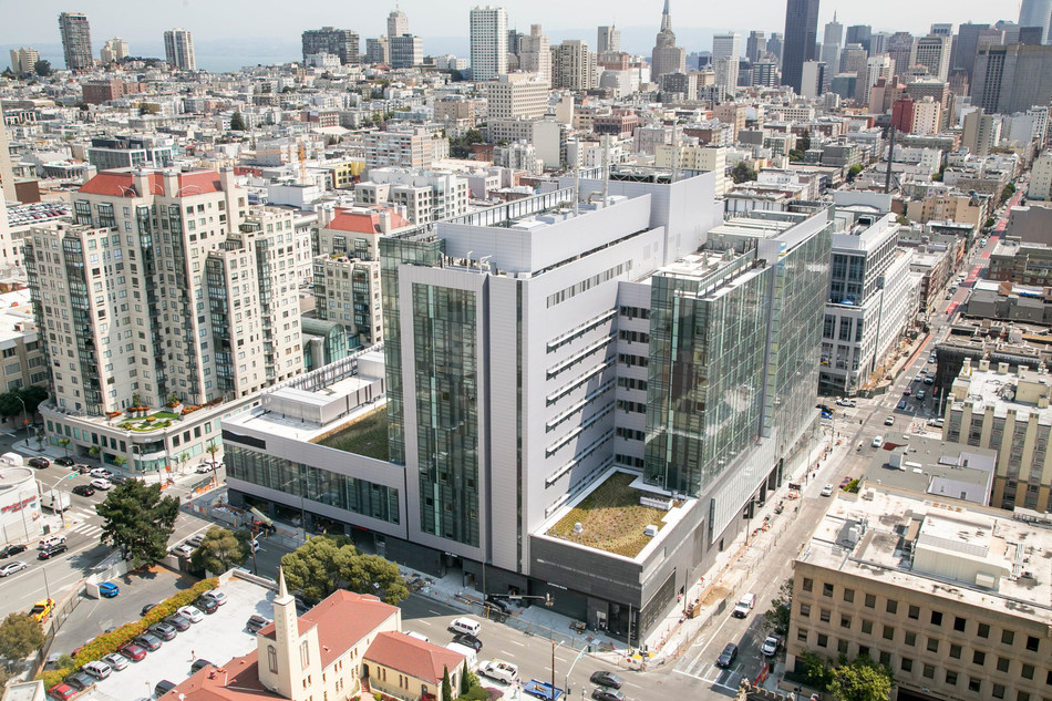 The new 1 million square-foot California Pacific Medical Center (CPMC) Van Ness Campus hospital, located at 1101 Van Ness Ave. at the intersection of Geary Blvd. in San Francisco (credit: Amanda Barnes, Southland Industries)