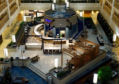 The newly renovated atrium at the Embassy Suites Columbus hotel. (CNW Group/American Hotel Income Properties REIT LP)