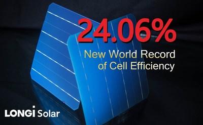 LONGi Solar estabelece novo recorde mundial de células solares mono-PERC bifacial em 24,06% (PRNewsfoto/LONGi Solar)
