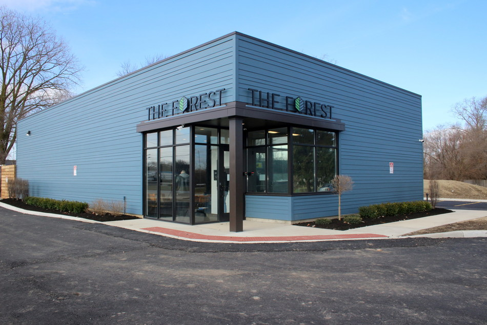 This is an exterior photo of The Forest in Sandusky, Ohio. The Forest is the first medical marijuana dispensary in the state to serve patients.