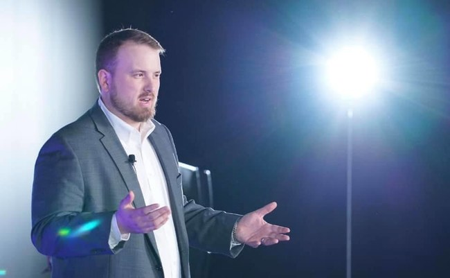 Blue Pack Marketing Co-Founder and CMO Keegan Rush during his keynote speech in Las Vegas on January 10th, 2019