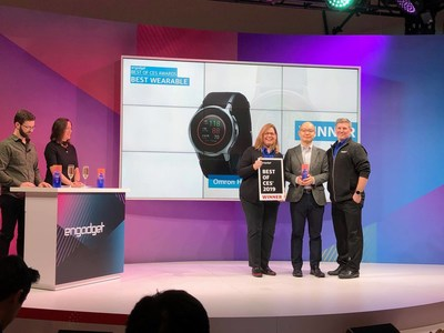 "Omron HeartGuide- a wearable blood pressure monitor in the design of a wrist watch- was awarded Engadget's ""Best of CES"" award for best wearable."