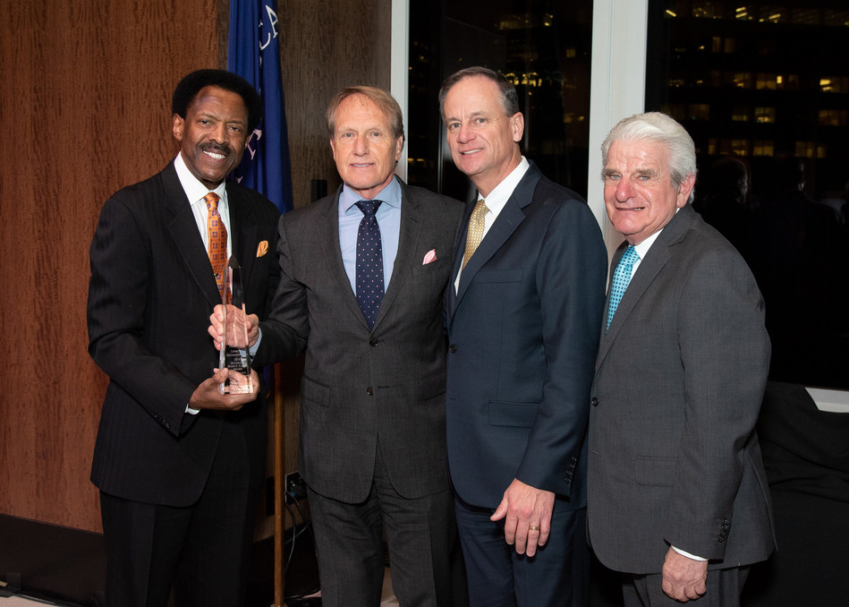 Photo (l-r): Thomas Gilliam, Chairman and CEO, Mutual of America Foundation; Henry Posko, President and Chief Executive Officer, Humanim, Inc.; John Greed, Chairman, President and CEO, Mutual of America; Theodore Herman, Vice Chairman, Mutual of America Foundation. Photo Credit: Ben Asen.