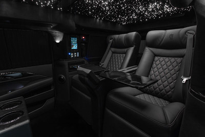 """Lexani Motorcars Cadillac Escalade 30"""" Extended Viceroy Interior Airline Style Tables"""