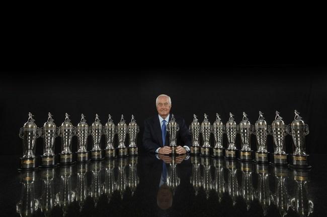 Roger Penske and his 17 BorgWarner Championship Team Owner's Trophies  Photo: Michael L. Levitt for BorgWarner