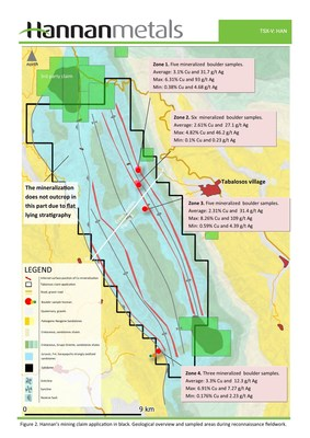 Figure 2 - Hannan's mining claim application in black. Geological overview and sampled areas during reconnaissance fieldwork. (CNW Group/Hannan Metals Ltd.)