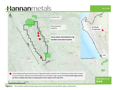Figure 1 - The San Martin sediment-hosted copper-silver project located in the San Martin region, northeast Peru. (CNW Group/Hannan Metals Ltd.)