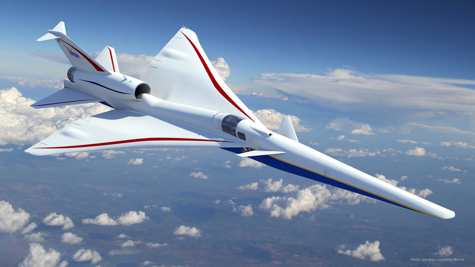 The X-59 Quiet Supersonic Technology (QueSST) aircraft is being developed by Lockheed Martin for NASA to collect data that could make supersonic commercial travel over land possible through low sonic boom technology. (Image courtesy of Lockheed Martin.)