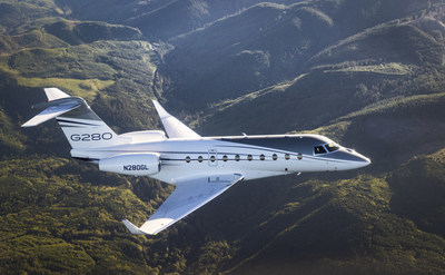 The Gulfstream G280, shown here in this file photo, set a city pair record between Savannah, Georgia, and Van Nuys, California, on renewable fuel.  The aircraft flew 2,243 nautical miles at Mach 0.85 using sustainable alternative jet fuel.
