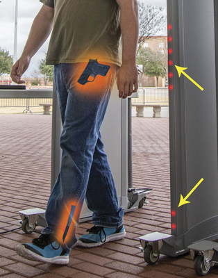Multiple targets are indicated simultaneously on Garrett's MZ 6100 Walk-Through Metal Detector via high intensity LED zone indicators.