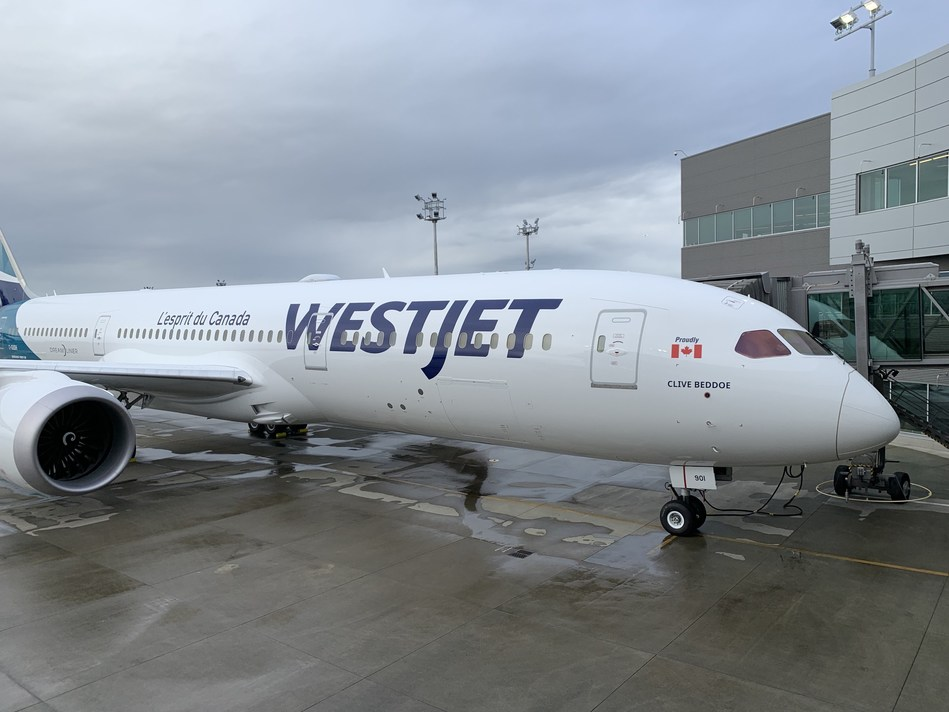 WestJet's first Boeing 787-9 Dreamliner is named in honour of the airline's chairman and founder, Clive Beddoe. (CNW Group/WESTJET, an Alberta Partnership)