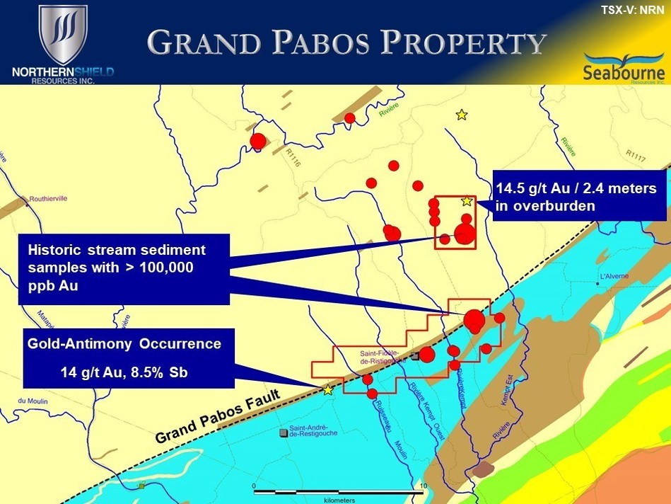 Significant historic gold anomalous stream sediment samples (red circles) from the Grand Pabos Property area. (CNW Group/Northern Shield Resources Inc.)