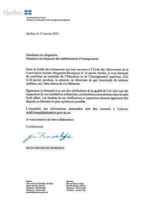 Lettre du ministre transmise aux dirigeants des établissements d'enseignement (Groupe CNW/Cabinet du ministre de l'Éducation et de l'Enseignement supérieur)