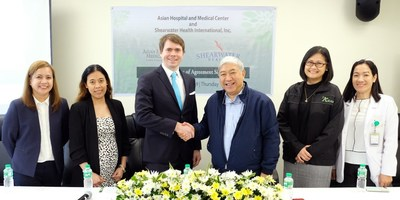 Asian Hospital and Medical Center's President and Chief Executive Officer Mr. Andres Licaros, Jr. (fourth from left) with Shearwater Health's SVP of Global Nurse Recruitment Mr. Nathan King (third from left) and Director for Immigration Ms. Ehmie Merginio (second from left). Also in photo (from left to right) Asian Hospital and Medical Center's Director for Human Resources Ms. Aimee Jane Martinez, Chief Strategy Officer Ms. Sharon Hernandez, and Director for Nursing Ms. Carolina Buhain, RN, MAN.