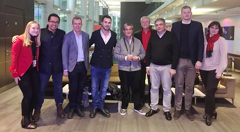 Pictured from left are ViewLift's Elle Leonsis, Manik Bambha, Mark Lawson, Fabio Gallo, Ted Leonsis, Rick Allen and European basketball guests