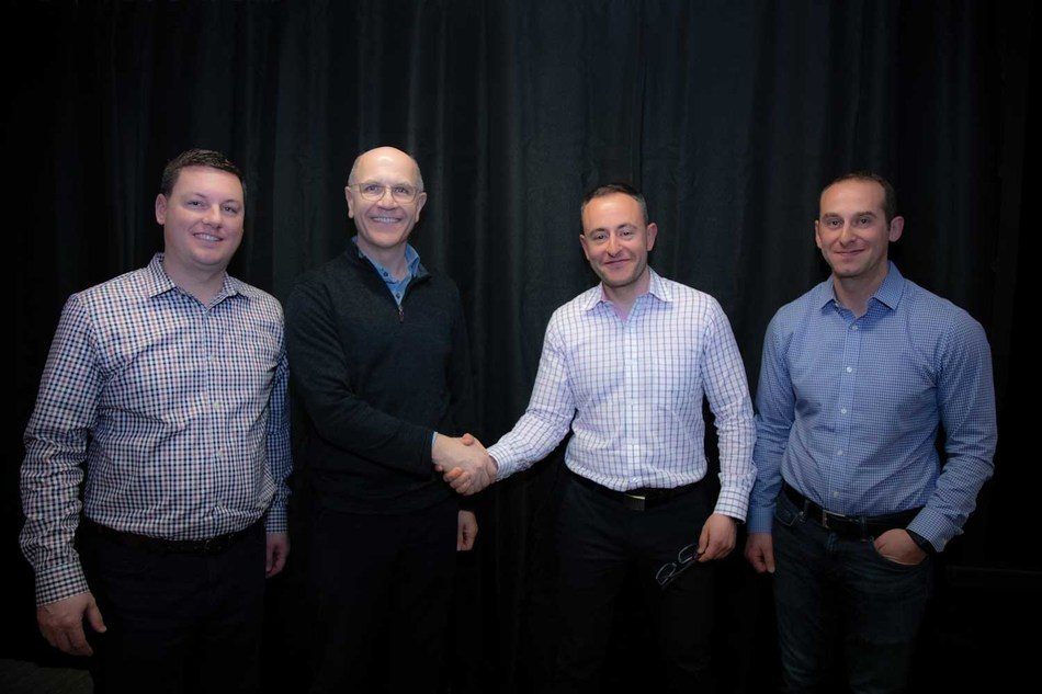 Atlona becomes a Panduit company in a joint meeting at the Atlona Headquarters in San Jose, California.  Pictured are (Left to Right): Marc Naese, Panduit SVP Network Infrastructure Business; Dennis Renaud, Panduit CEO; Ilya Khayn, Atlona CEO and Co-founder; Michael Khain, Atlona VP Product Development/Engineering and Co-founder