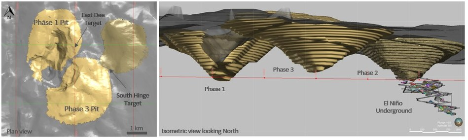 Figure 3: (Left) Plan view of the South Arturo area showing the position of the Phase 2 Pit and the proposed Phases 1 and 3 (right) Isometric view showing the underground El Niño proposed development. (CNW Group/Premier Gold Mines Limited)