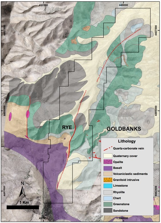 Figure 6: Geological map showing the extension of the Rye Vein and the vicinity to Goldbanks Property. (CNW Group/Premier Gold Mines Limited)