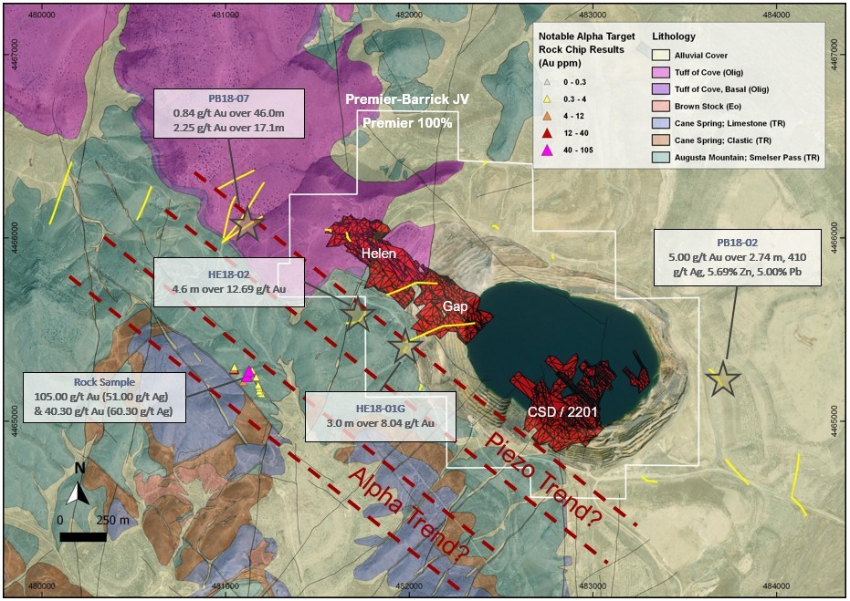 Figure 5: Geological map of the McCoy-Cove Project showing the Cove Carve Out (100% Premier) outline and the Piezo Trend and Alpha Trend. The red mineralized zones are from the PEA. The new exploration discoveries are highlighted with a star. (CNW Group/Premier Gold Mines Limited)