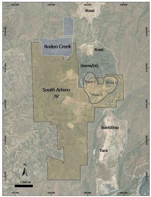 Figure 4: Property limits of Rodeo Creek (blue) and South Arturo (gold) showing the proximity of the near gold mines. (CNW Group/Premier Gold Mines Limited)
