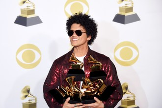 "An image of Bruno Mars from the ""60th Annual GRAMMY Awards®."" Photo credit: Courtesy of the Recording Academy®/WireImage.com © 2018"