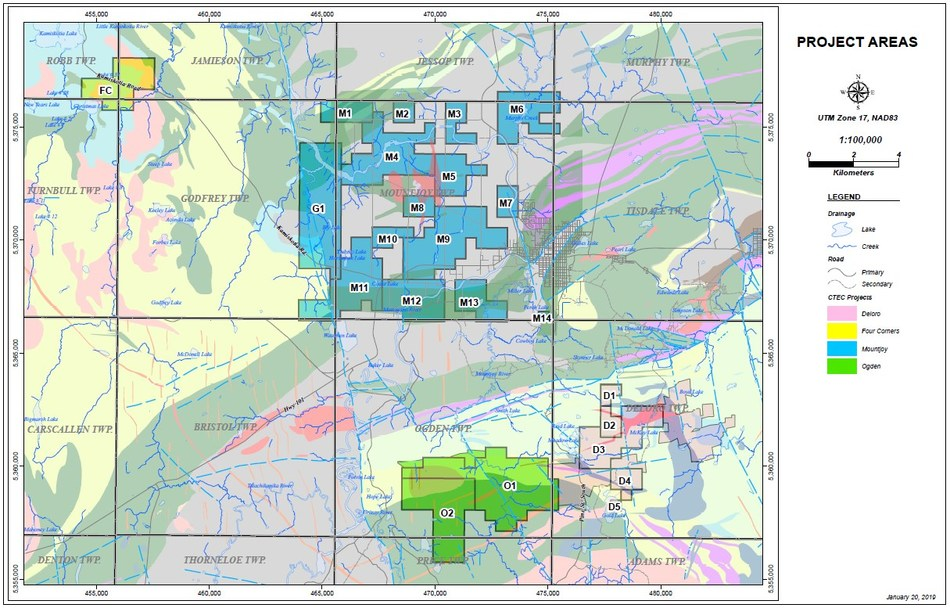 Figure 1 – CTEC Project Location Map (CNW Group/Central Timmins Exploration Corp)
