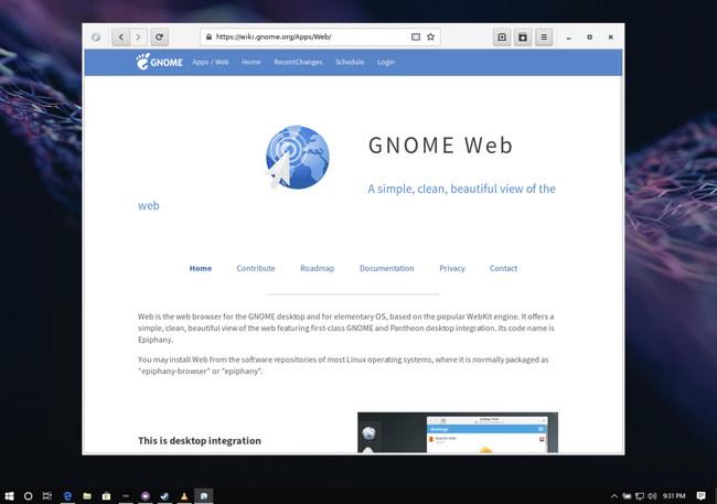 Fedora Remix for WSL using Gnome Web