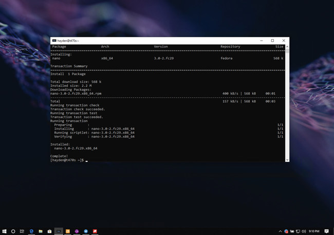Fedora Remix for WSL using dnf