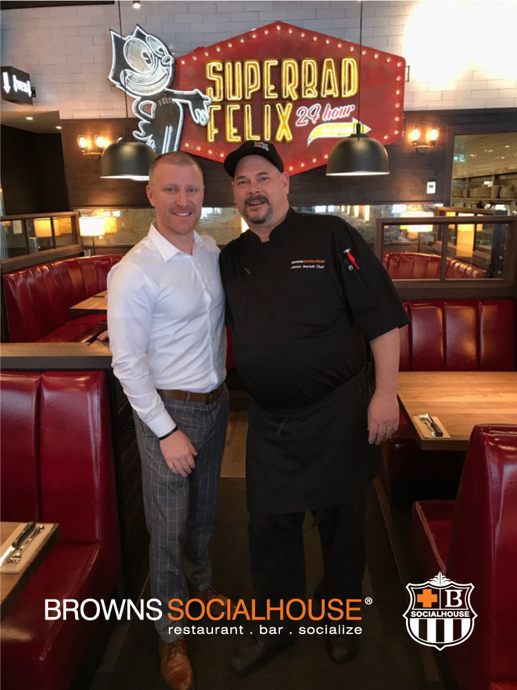 Browns Socialhouse Centretown franchise owner, Oliver Prucklmeier with Chef James Bernell at the opening of the new location in Ottawa. (CNW Group/Browns Restaurant Group)