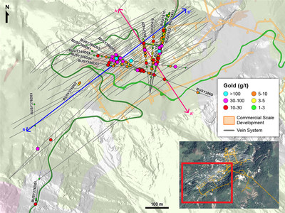 Figure 1 – Plan View of Drilling in the Veta Sur System (CNW Group/Continental Gold Inc.)