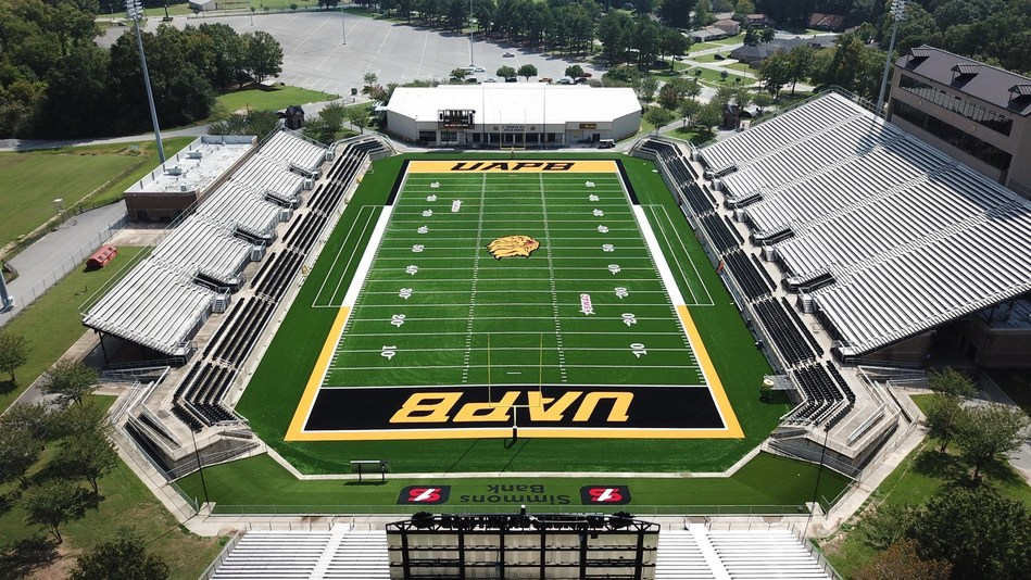 Completed installation of GreenFields premium woven turf product, IRONTURF, at the University of Arkansas – Pine Bluff. UAPB's Simmons Field is IRONTURF's first NCAA Division 1 installation.