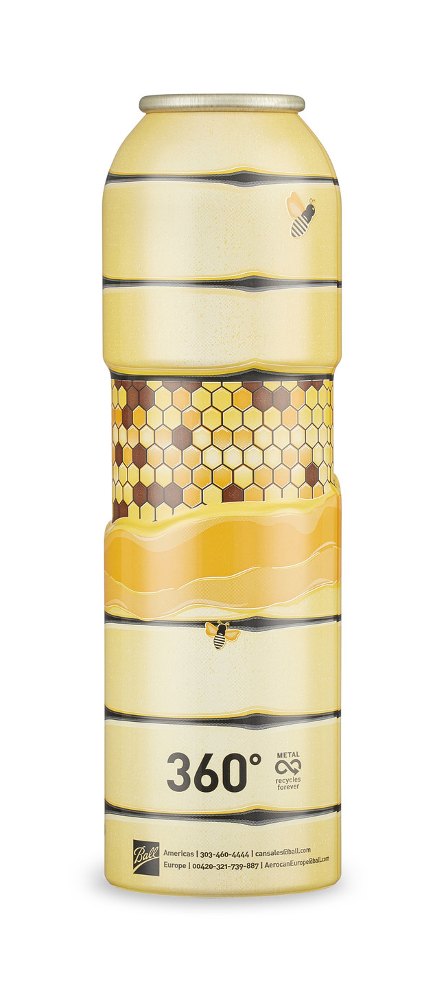 Ball introduces its 360° aluminum aerosol can, Bee Hive design (shown)