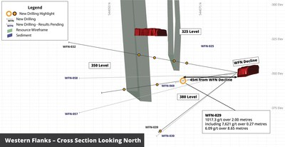 Figure 5 - Cross section looking North showing location of coarse gold intersection in hole WFN-029 at Western Flanks (CNW Group/RNC Minerals)