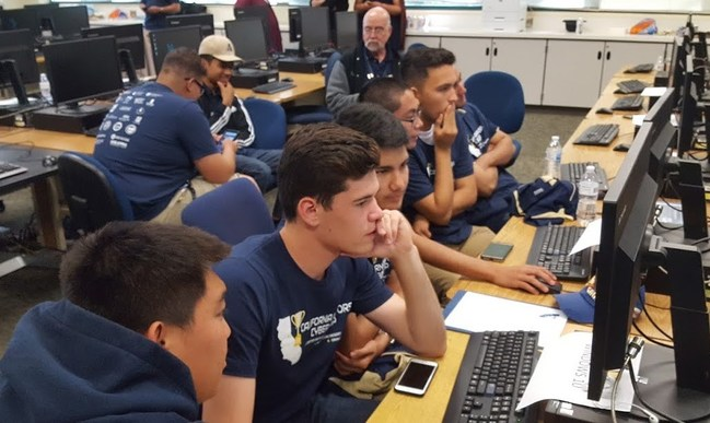 Students competing at the 2018 California Mayors Cyber Cup