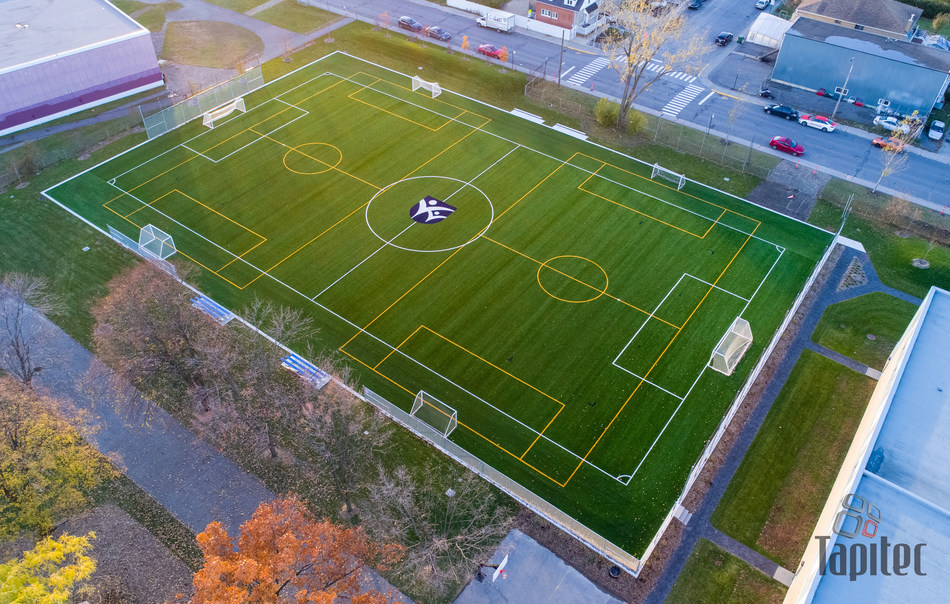 First Canadian installation of GreenFields premium woven turf product, IRONTURF(TM), at Collège Reine Marie.