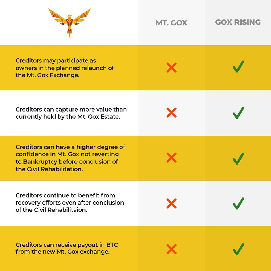 #GoxRising provided this chart to summarize the benefits of its approach to the status quo