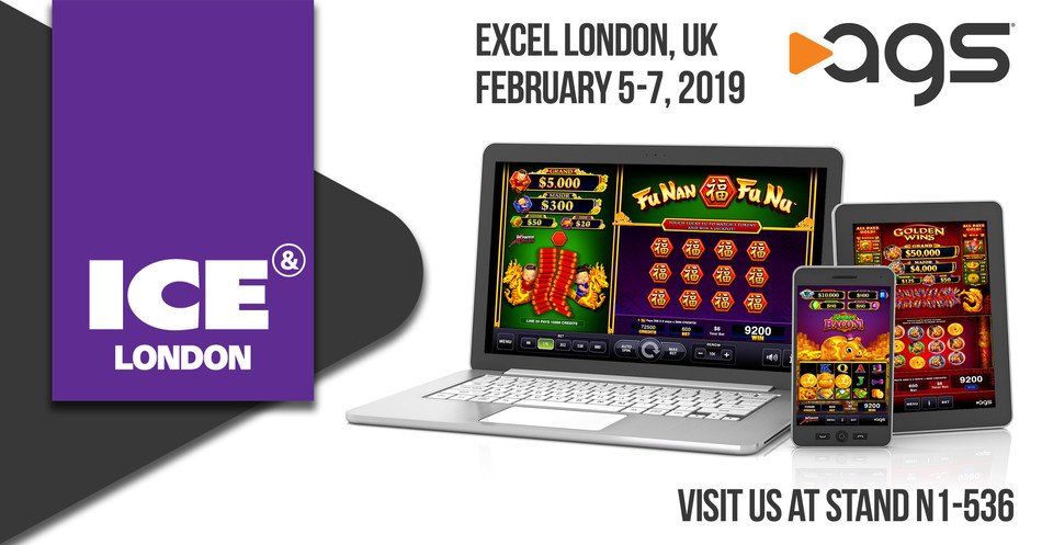 AGS (NYSE: AGS) is displaying its platforms and games for real-money gaming and social gaming at ICE London February 5-7, 2019.