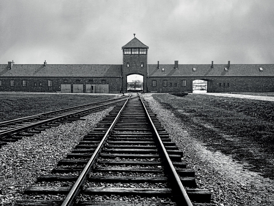 The gate house, the main entrance into Birkenau, known as the Auschwitz II concentration camp.