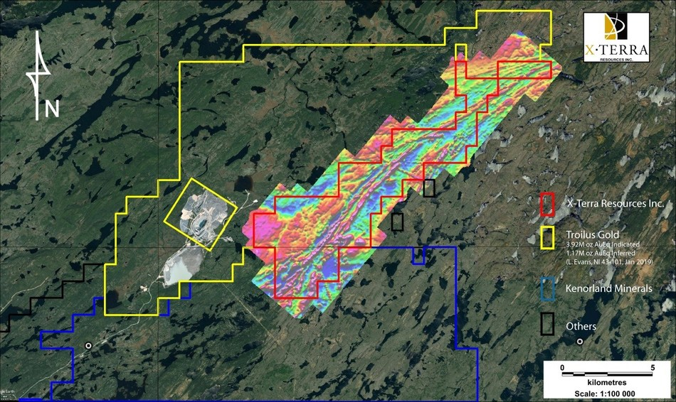 Troilus airborne magnetic survey (75 metre spacing) (CNW Group/X-Terra Resources Inc.)