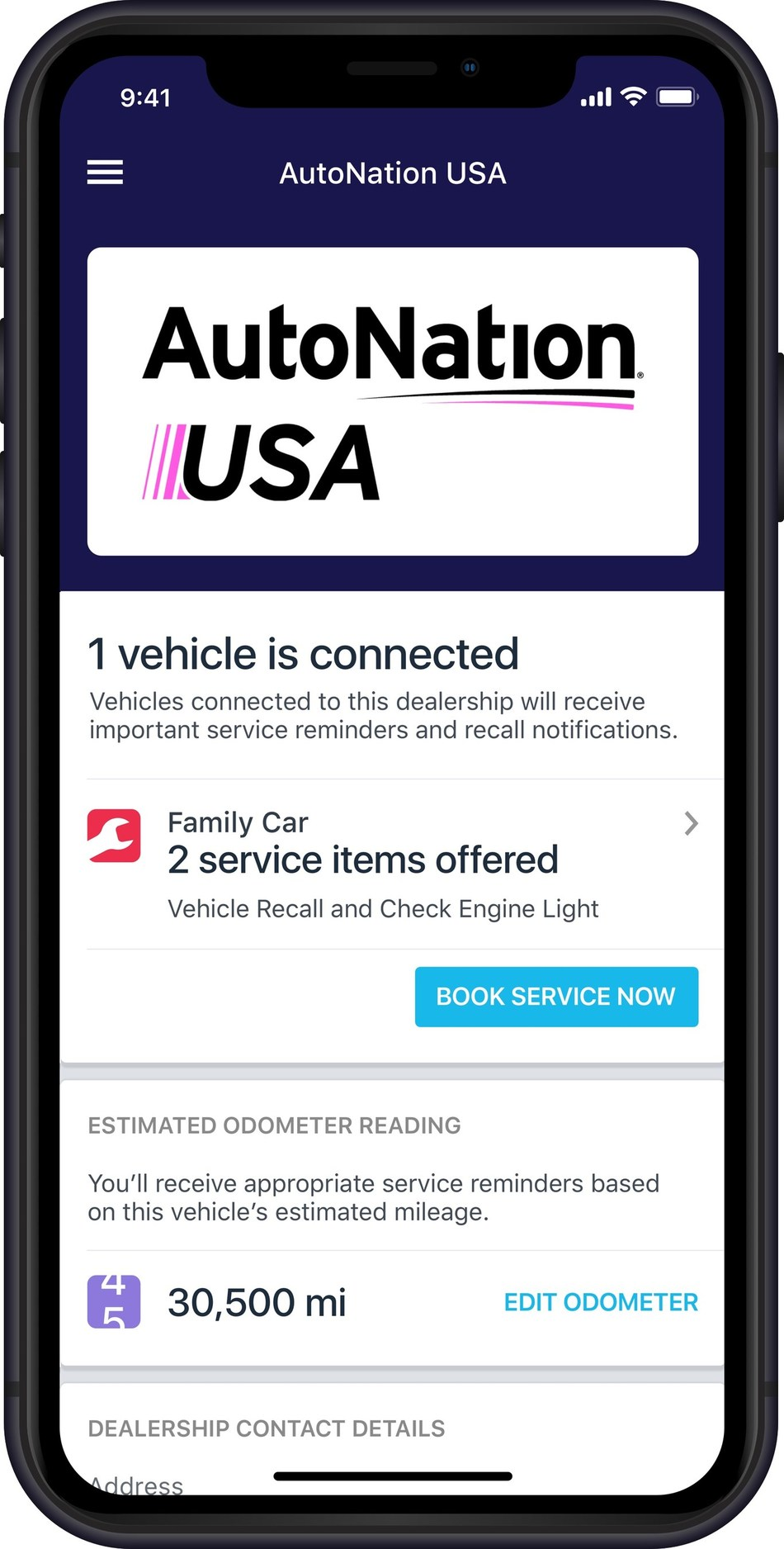 The Automatic app enables customers to receive service alerts and recall notifications and book service appointments with AutoNation directly through the app.