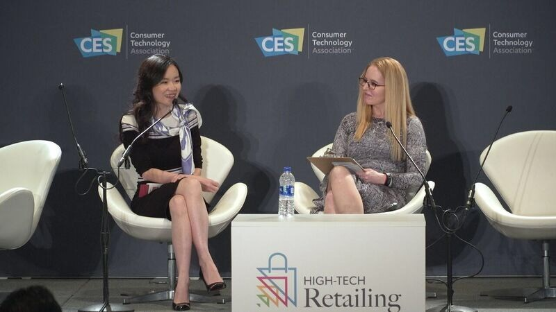 Cecilia Tian, ​​Vice General Manager of Tencent Smart Retail, presenting at CES High Tech Retailing Forum (PRNewsfoto/Tencent Smart Retail)