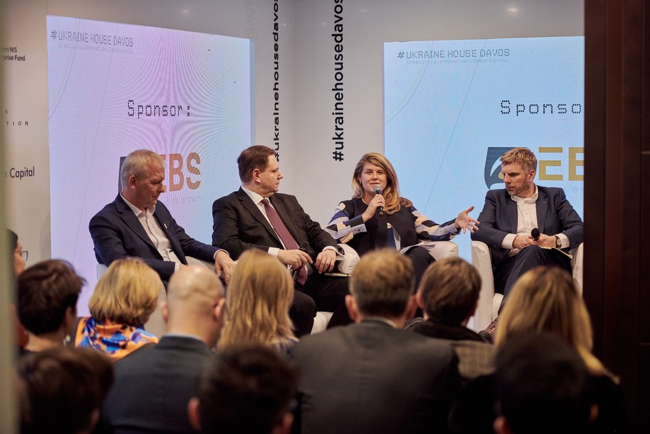 From left to right, Andrey Kolodyuk, Chairman of Ukrainian Venture Capital & Private Equity Association; Andy Hunder, President of the American Chamber of Commerce in Ukraine; Lenna Koszarny, Founding Partner and CEO at Horizon Capital; and Michael Collins, CEO, Invest Europe (PRNewsfoto/Ukraine House Davos)