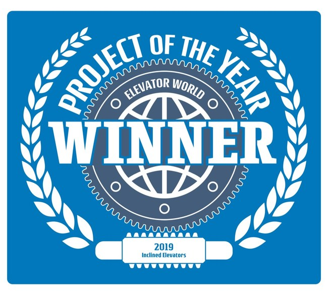 2019 Elevator World Project of the Year emblem for Inclined Elevator Award