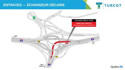 Entrave dans l'échangeur Décarie (Groupe CNW/Ministère des Transports)