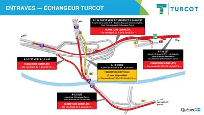 Entraves dans l'échangeur Turcot (Groupe CNW/Ministère des Transports)