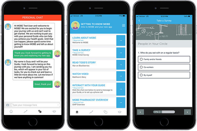 MOBE's mobile app, powered by RMDY, offers participants another way to connect with their personal MOBE guides for support and guidance. An accompanying care management dashboard enables Guides to monitor and track users to offer timely assistance and encouragement.