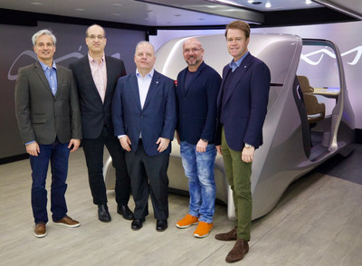 From left to right: Roman Vasilev: Director Mobility X Yanfeng Automotive Interiors; Tomer Shani: Co-Founder Noveto; Steve Meszaros: CEO at Yanfeng Automotive Interiors; Brian Wallace: CEO Noveto; Han Hendriks: CTO Automotive Interiors